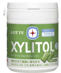 LOTTE XYLITOL Gum Lime Mint Family Bottle 143g