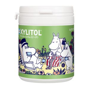 LOTTE Moomin XYLITOL Gum Peach Design Bottle 143g