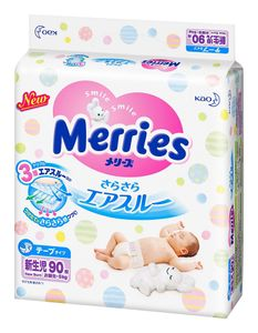 Merries Sarasara Air-through Tape-Type Diapers 90 pieces Newborn