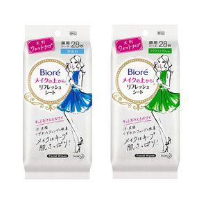 KAO Biore Makeup Refresh Sheet 28 sheets 2 types facial wipes