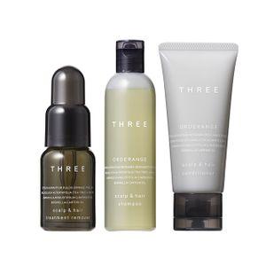 THREE Scalp & Hair Trial Kit Treatment Remover 18ml + Orderange Shampoo R 50ml + Orderange Conditioner R 40g