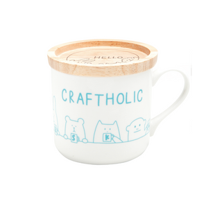 craftholic mug cup with wood lid GREEN