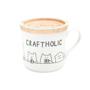 craftholic mug cup with wood lid MULTI