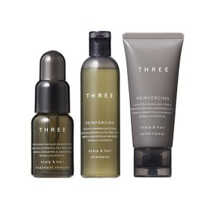 THREE Scalp & Hair Trial Kit Treatment Remover 18ml + Reinforcing Shampoo R 50ml + Reinforcing Conditioner R 40g