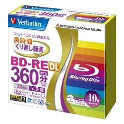 MITSUBISHI Verbatim 50GB 2 x Speed BD-RE Blu-ray Re-Writable 10 disks
