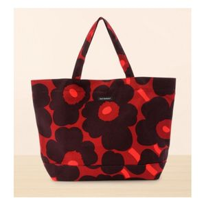 marimekko Pieni Unikko Tote Bag Red x Plum only available in Japan