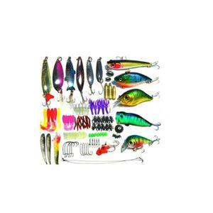 Lure worm Various 100 pieces Bath Fishing gear set  21 x 11 x 4 cm